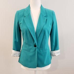 Kenzie 3/4 sleeve blazer teal small